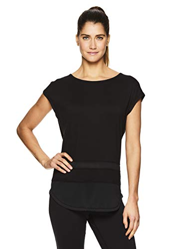 Gaiam Women's Open Back Yoga T Shirt - Relaxed Fit Short Sleeve Workout & Training Top - Naomi Black (Tap Shoe), Large ()