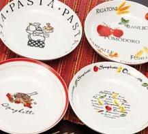Servizio piatti in porcellana per pasta 7 pz decori assortiti ...