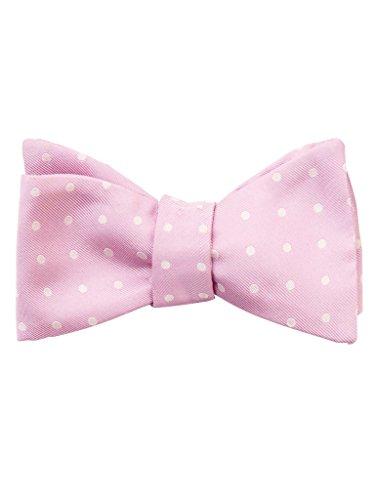 Elizabetta Men's Self-Tie Italian Silk Bow Tie, Light Pink & white Polka Dot - Exclusive Silk Twill