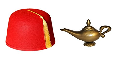 Red Fez Gold Tassel Hat With Genie Magic Wish Lamp Costume Cap Party Set Kit - Cap Costumes Set
