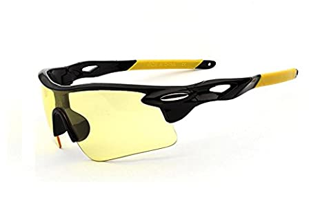 Wonzone Outdoor Sports Athlete's Eyewear UV Protection Night Vision Sunglasses Riding Glasses Eye Gear Protecor for Cycling Fishing Golf (Yellow/Black Night (Scratch Golf Game Gear)