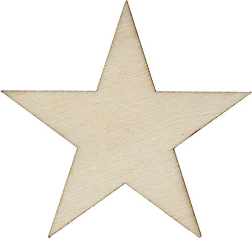 (50 qty 2 inch Wood Stars, Christmas Wooden Star Ornaments DIY, Supplies for Wood Flag Making)