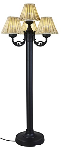Patio Living Concepts 19450 Versailles Floor Lamp with Body & Wicker Shades, Black/Stone by Patio Living Concepts