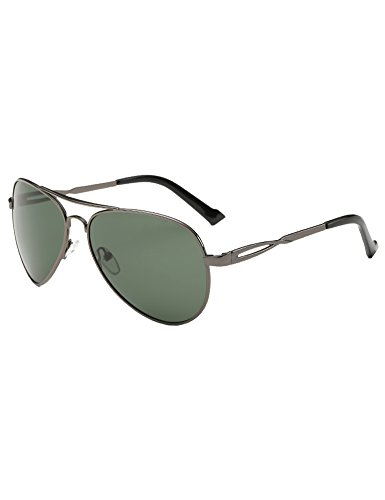 SSLR Men's Classic Aviator Polarized Sunglasses (Gunmetal Frame/Green Lens, - Sunglasses Gunmetal Aviator Cockpit