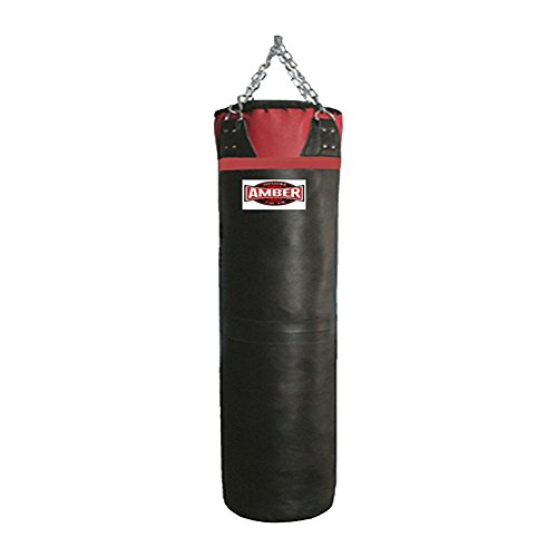 (Amber Fight Gear AFG Synthetic Leather 6ft Bag Boxing Muay Kickboxing Thai MMA Fitness Workout Training Kicking Punching Unfilled Empty Heavy Bag Black, 100lb)