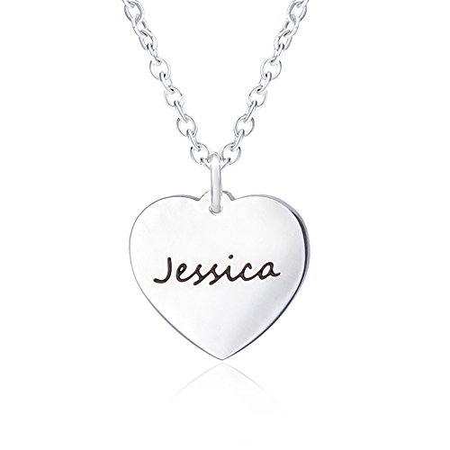 - Jessica Personalized Necklace with Name for Girlfriend Women Silver Heart Necklaces Script Pendant Carved Engraved