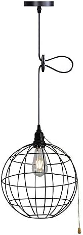 Industrial Pendant Light Vintage Spherical Ceiling Light 59″ Adjustable Hanging Cord Farmhouse Pendant Light Fixture On/Off Pull Chain Switch