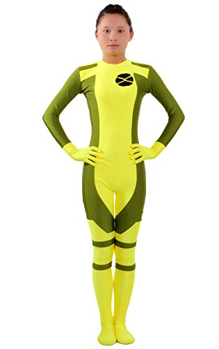 Seeksmile Unisex Lycra Spandex Ms Rogue Zentai Bodysuit (Medium, Yellow)