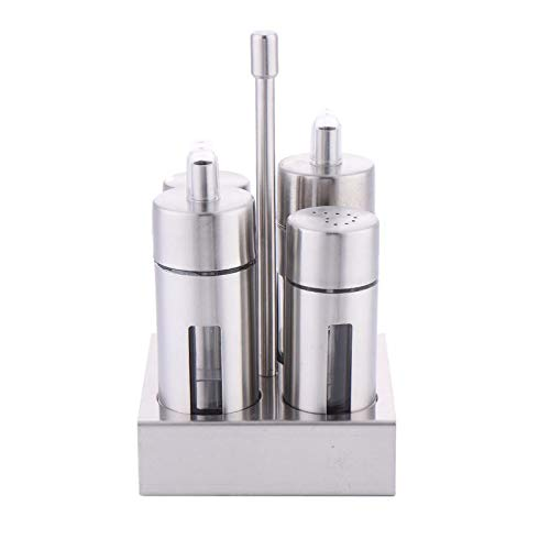 Herb & Spice Tools | Castor Stainless Steel Salt Pepper Shaker Set Odor-Free Spice With Stand Condiment Box Cooking Seasoning Bottle Kitchen Tools | By ATUTI by ATUTI