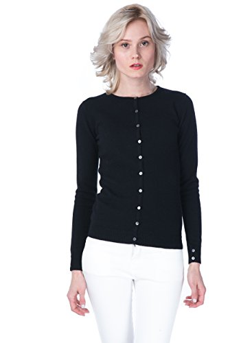 cashmere 4 U Women's 100% Cashmere Cardigan -Basic Slim Crewneck Button Front Sweater