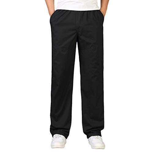 iYYVV Mens Casual Cotton Fashion Loose Plus Size Outdoors Sports Overalls Long Pants Black
