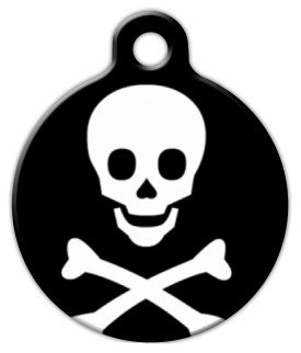 Dog Tag Art Custom Pet ID Tag for Dogs – Skull and Bones – Large – 1.25 inch, My Pet Supplies
