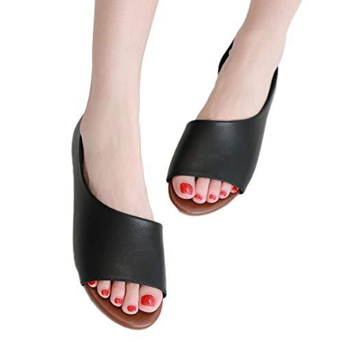 (Behkiuoda Women Sandals Summer Flat Beach Soft Walking Fish Mouth Shoes Slip-on Peep Toe Outdoor Shoes Black)