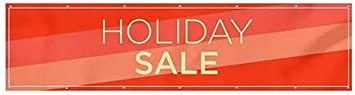 Modern Diagonal Wind-Resistant Outdoor Mesh Vinyl Banner Holiday Sale CGSignLab 12x3
