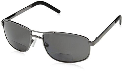 Coyote Eyewear +1.50 Polarized Bifocal Reader Sunglasses, Gunmetal Frame, Gray - Bp Sunglasses