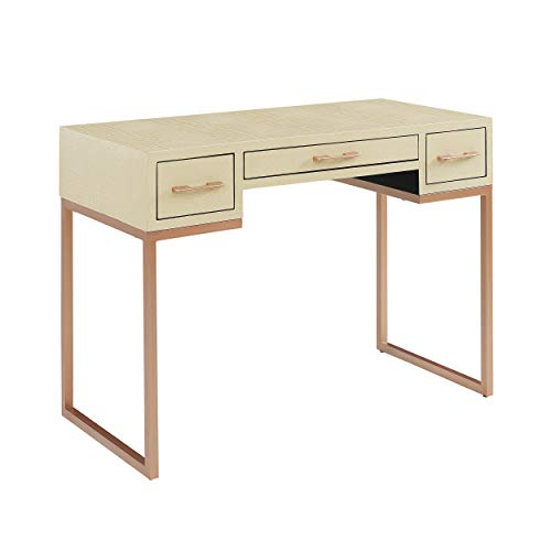 42-Inch Writing Desk - Ivory Alligator Textured Finish - 3 Storage Drawers (Alligator Desk)