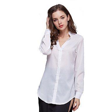 Mujer Camisas y blusas Hot Sale Mujer Slim de chifón de blanco/negro de manga corta de manga larga cuello en V macizo, color caqui - caqui, ...