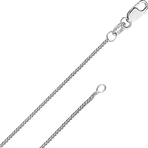 White Gold Braided Necklace - 14k White Gold Solid 0.8mm Diamond Cut Braided Square Wheat Chain Necklace with Lobster Claw Clasp 16 Inches - FREE Gift with Order