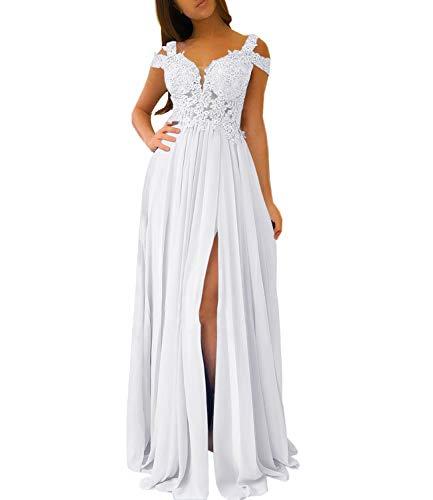 Women's Lace Appliqued Evening Gowns Side Split A-line Prom Dresses Long (US12, White)