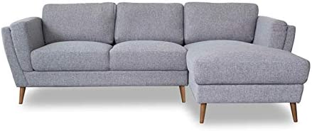 Pemberly Row Mid-Century Modern Sadie Gray Sectional Sofa Right Chaise - a good cheap living room sofa