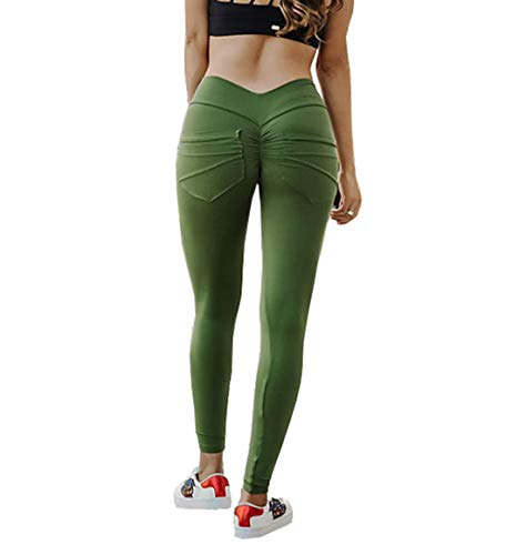 Hanwe Womens Yoga Pants with Pockets Ruched Soft Stretch Leggings Workout Sport Fitness Gym Tights ()