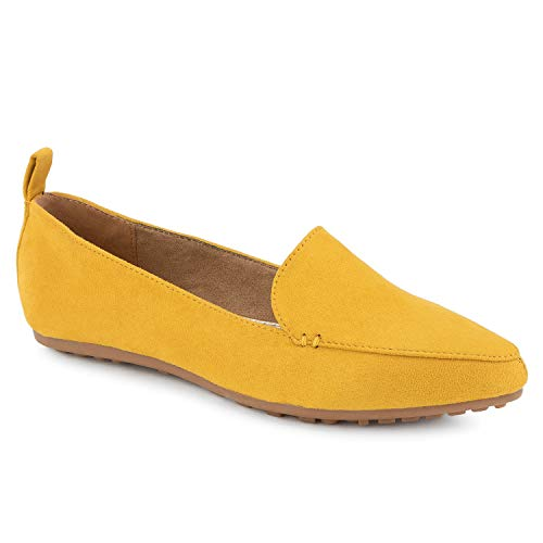 RF ROOM OF FASHION Women's Feather Light Comfortable Classic Pointed Toe Flats Loafers Mustard Size.8