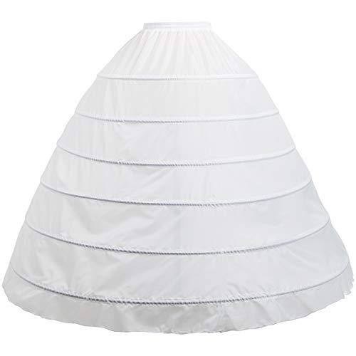 aingycy 6-Hoops Hoop Skirt Full A-line Bridal Dress Gown Slip Petticoat for Wedding Dress Crinoline Underskirt Ball Gown (White)