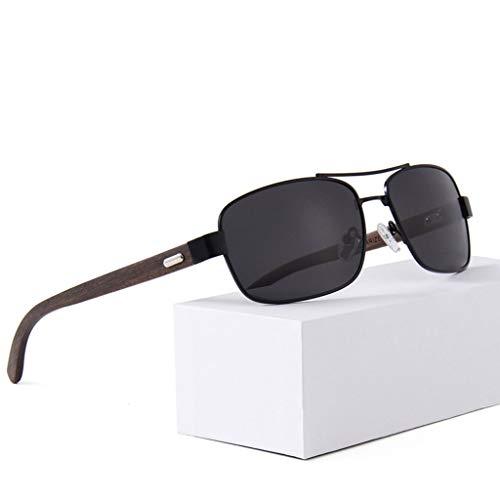Marco polarizadas conducción clásicas Gray La Gafas Gafas del bambú de Plata Unisex bambú Color de Gafas sol metálico vtzzxZ0w