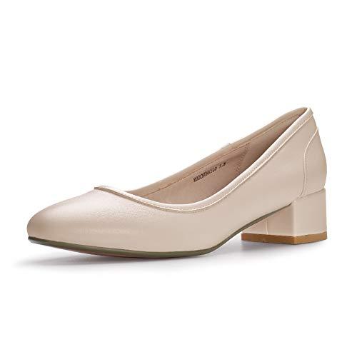 IDIFU Women's RO2 Fashion Chunky-LO Closed Square Toe Low Chunky Block Heel Slip on Pumps Shoes (9.5 M US, Nude -