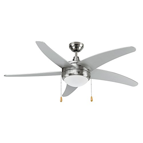 LB92103 LED Ceiling Fan, 50-Inch 5 Blade Curved, Brushed Nickel, 15W (65W equivalent), 3000K Warm White, 120° Beam Angle, 1000 Lumens, ETL & DLC Listed ()
