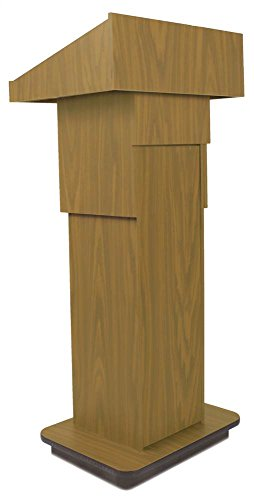 (Ampilvox School Office Executive Non-Sound Column Lectern Light Oak)