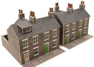 Metcalfe PN104 N Gauge Two Stone Built Terraced Houses - Card Kit by Metcalfe