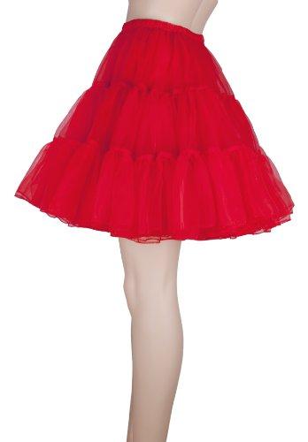 Flora® 50s Rock N Roll Hoopless falda corta/Fancy tutú Petticoat, 18cm de largo rosso