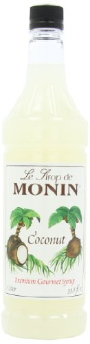 Monin Flavored Syrup, Coconut, 33.8-Ounce Plastic Bottles (Pack of 4)