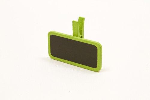 Marque place mini ardoise sur pince par 12 - Vert anis