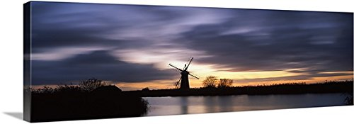 Traditional Windmill At Dusk St Benets Mill River Thurne Thurne Norfolk Broads Norfolk England Gallery Wrapped Canvas