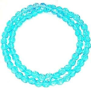 Steven_store CZ333 Light Turquoise Blue 6mm Fire-Polished Faceted Round Czech Glass Bead 16