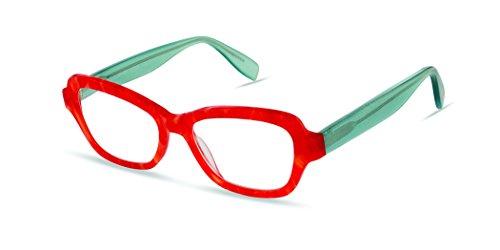 Roxbury Street - Angular Trendy Fashion Reading Glasses for Men and Women - Solar Flare/Red Aqua (+1.00 Magnification Power) (+1.25 Magnification Power) ()