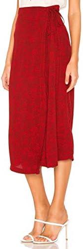 Free People Yasmin Tied Midi Wrap Skirt Floral Raspberry