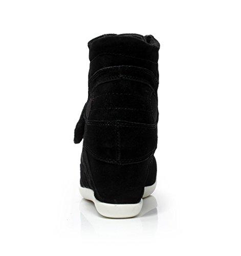 Shenn Mujer Gran Venta Comodidad Talón de Cuña Bucle de Gancho Moda Zapatillas 8522 Negro