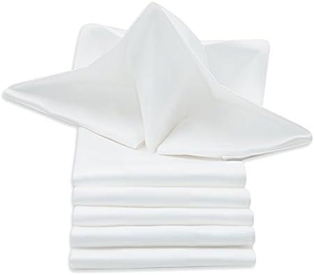 Elegante juego de servilletas de 100% algodón adamascado con una orla satinada en los bordes. Son pe
