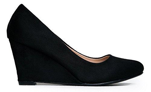 589326ae847e1 OLIVIA K Women's Kitten Low Wedge Heel - Cute Office Basic Casual Walking  Shoe - Comfortable Easy Slip On Pump