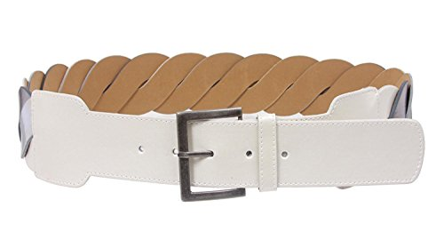 - MONIQUE Women White High Waist Metallic Braided Woven Square Buckle 60mm Belt
