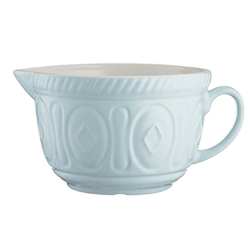 Mason Cash Color Mix Ceramic Batter Bowl; Large Enough to Whisk and Mix Ingredients; Pouring Lip and Handle; 8-Cups/Half Gallon; 10-1/4-Inches by 7-3/4-Inches by 5-Inches; Powder Blue