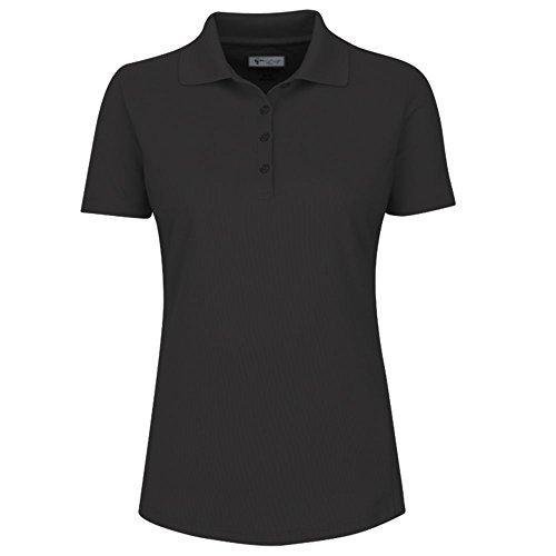 Greg Norman Women's Protek Micro Pique Short Sleeve Polo, Black, ()