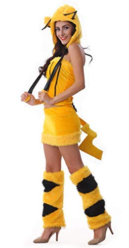 Women Pikachu Costume Girl Animal Halloween Costume for Party Yellow Color (Free Size)