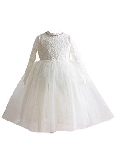 Bow Dream Flower Girl's Dress Lace White 3