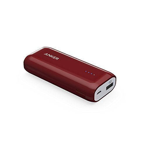 Anker Astro E1 5200mAh Candy bar-Sized Ultra Compact Portable Charger (External Battery Power Bank) with High-Speed Charging PowerIQ Technology (Red)