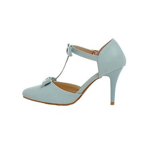 AalarDom Talon Sandales PU Femme Boucle TSFLG005532 Bleu d'orteil Haut Fermeture Cuir à rTr4pq