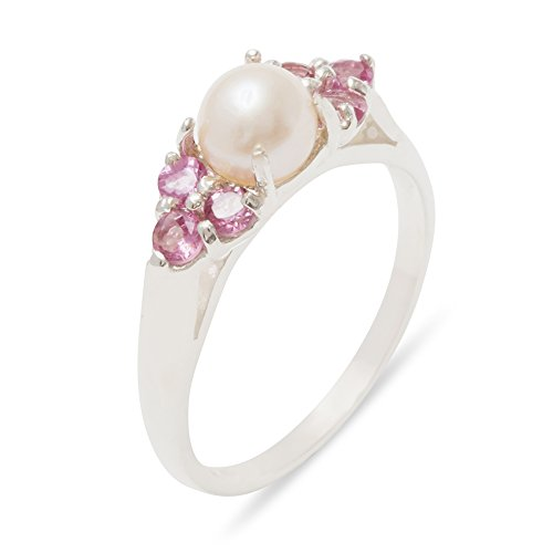 - 925 Sterling Silver Cultured Pearl & Pink Tourmaline Womens Cluster Engagement Ring - 6 - Size 6